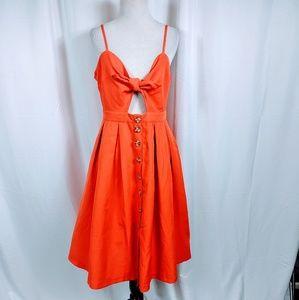 Forever 21 Orange Tie Front Buttondown Midi Dress